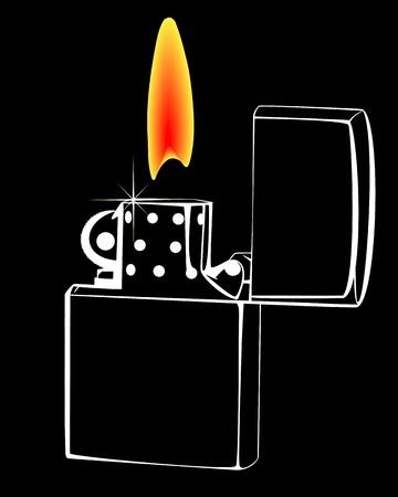 gas lighter: burning gasoline lighter on a black background