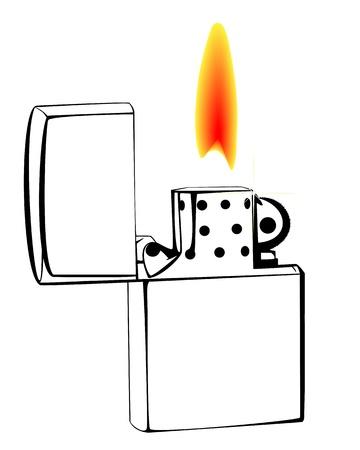 gas lighter: burning gasoline lighter on a white background