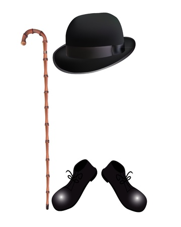 bowler: bamboo cane, bowler hat and boots on a white background