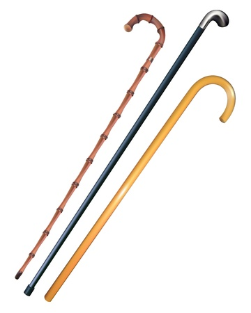 walking stick: three canes to walk on a white background Illustration