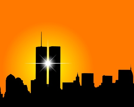 brooklyn: Silhouette of skyscrapers twins on an orange background