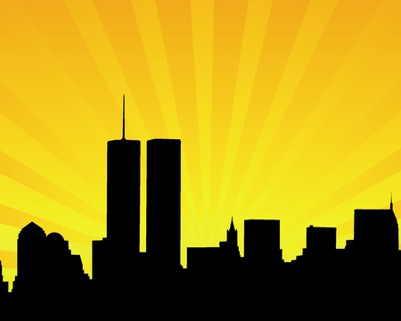 twin tower: Silhouette of skyscrapers twins on an orange background