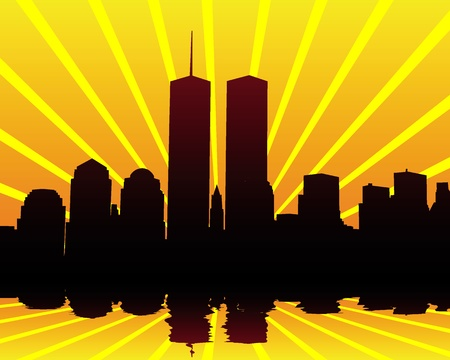 silhouettes of the Twin Towers on the orange-yellow background