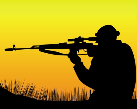 guard duty: silhouette of a sniper on an orange background