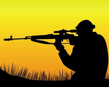 snajper: sylwetka snajpera na pomarańczowym tle Ilustracja
