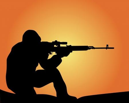 disparos en serie: silueta de un francotirador en un fondo naranja