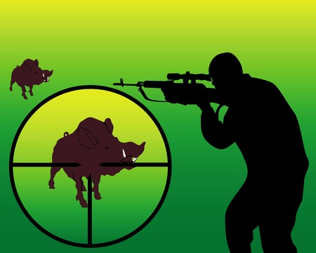 sniper rifle: silhouette of a hunter on a wild boar on a yellow-green background