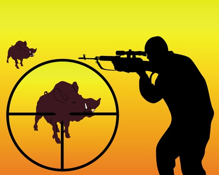 sniper rifle: silhouette of a hunter on a wild boar on a orange background