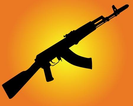 gun silhouette: silhouette of a Kalashnikov on an orange background Illustration