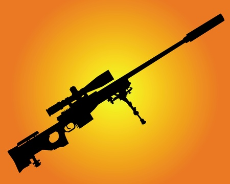 sniper rifle: silhouette of a sniper rifle on an orange background
