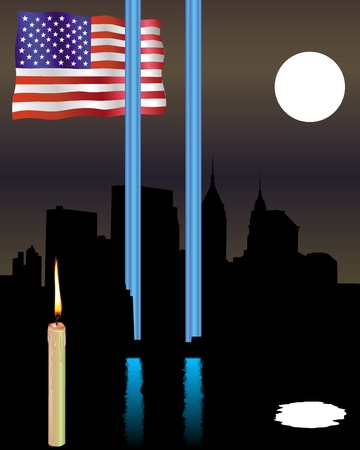 Memorial Twin Towers with a flag and a candle in a dark night sky Vector