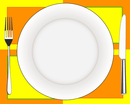 stainless steel kitchen: fork knife and a plate on colorful tablecloths Illustration