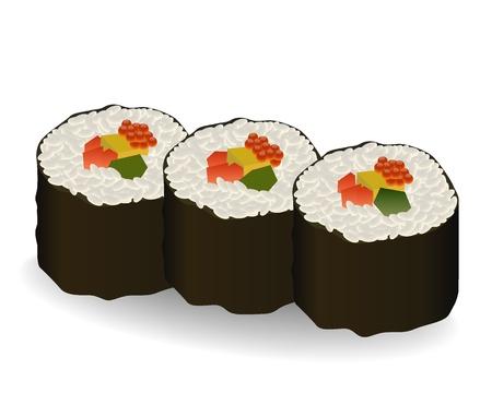 three rolls sushi on white background