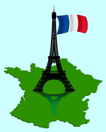 black silhouette of the Eiffel Tower with a map and flag of France Vector