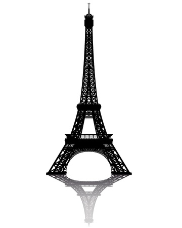 tower: black silhouette of the Eiffel Tower on a white background Illustration