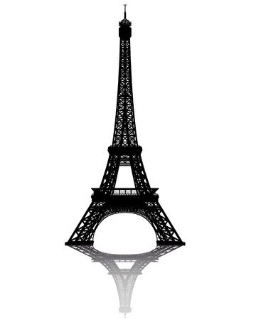 torre: negro de la silueta de la Torre Eiffel sobre un fondo blanco