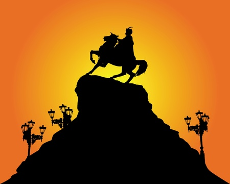 national hero: silhouette of the monument to Bohdan Khmelnytsky in Kiev on an orange background