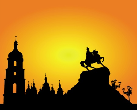 Silhouette Sophia Square in Kyiv on an orange background