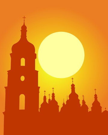 Silhouette Sophia Cathedral in Kiev on an orange background Vector