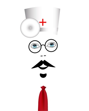boticário: doctor with glasses and hat with a red tie on a white background