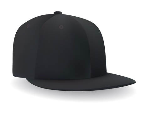 black cap: smiling in a black baseball cap, a ball on a white background