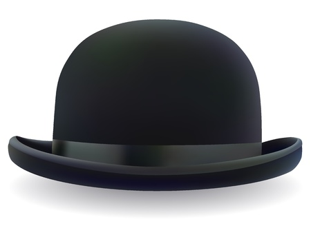a black bowler hat on a white background