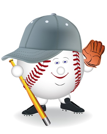 baseball cartoon: smiling in a baseball cap with mitt bat on a white background