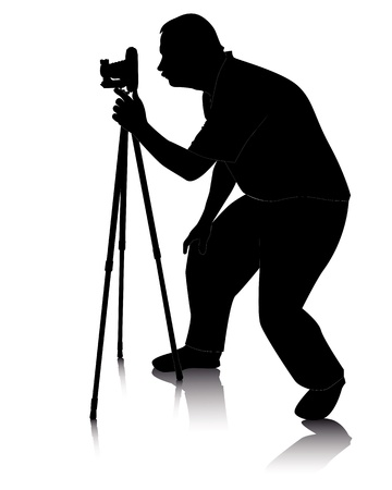black silhouette of a photographer with Cameras with tripod on a white background Vector