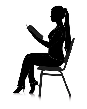 woman reading book: black silhouette of a girl reading a book on a white background