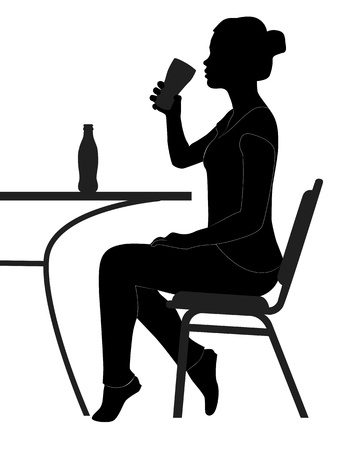 black silhouette of a girl drinking from a glass table on a white background