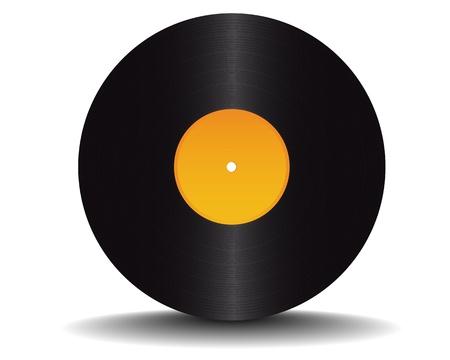 black vinyl record on white background Vector