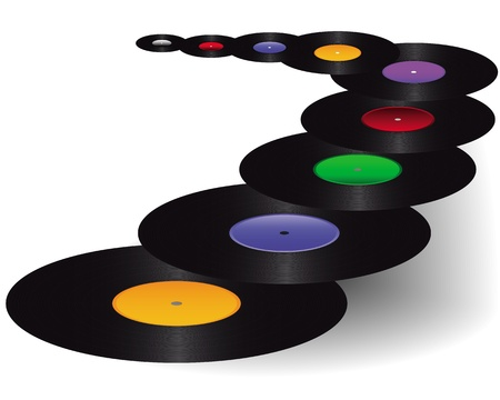 black vinyl with colored stickers on a white background