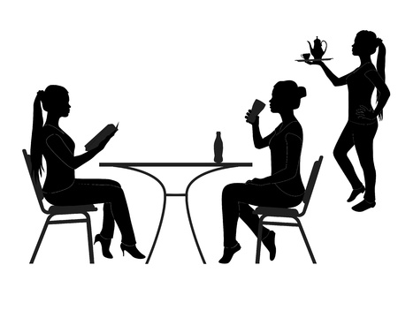 visitors: black silhouettes of the visitors of the restaurant on a white background Illustration