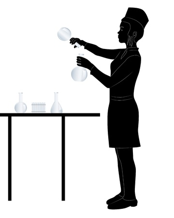 black silhouette of a laboratory assistant on a white background Stock Vector - 11661983