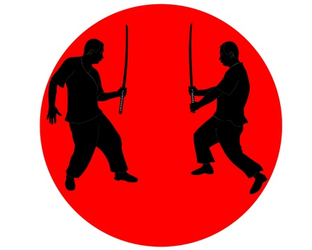 sword silhouette: black silhouettes of men with Japanese swords in the red circle on a white background Illustration