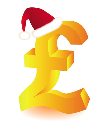 pound: gold symbol in red cap pounds Santa on a white background