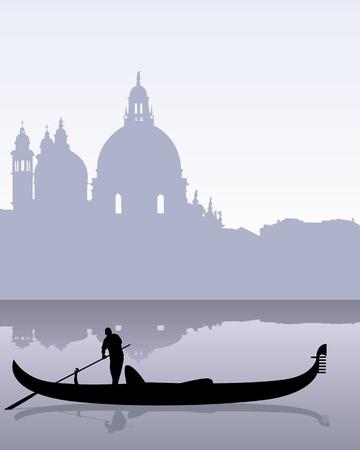 gondola: black silhouette of a gondola floating on the calm water of Venetian landscape Illustration