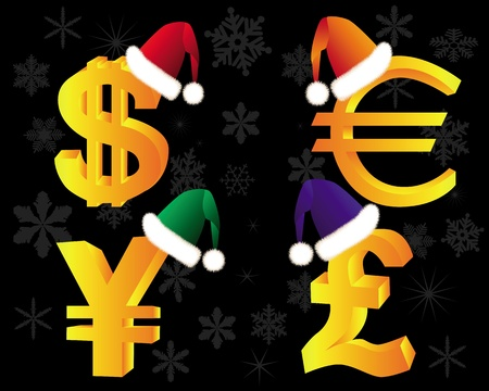 currency symbols: gold currency symbols in Winter Hat on a black background Illustration