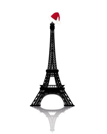 Eiffel Tower with Red Winter Hat on a white background Vector