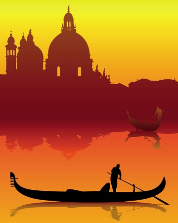 italia: dark silhouettes of Venice on an orange background