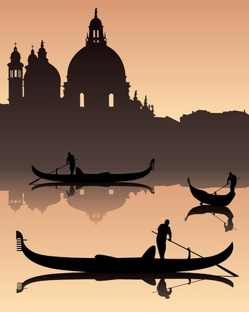 dark silhouettes against the background of Venetian gondoliers of the urban landscape Illustration