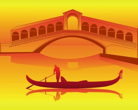 silhouette of a Venetian gondola from the Rialto Bridge on an orange background