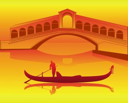 silhouette of a Venetian gondola from the Rialto Bridge on an orange background