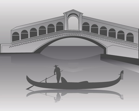 silhouette of a Venetian gondola from the Rialto Bridge in shades of gray