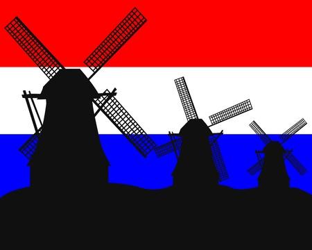 olanda: sagome di mulini a vento sullo sfondo della bandiera olandese