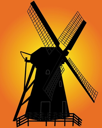 dutch landmark: black silhouette of a windmill on an orange background