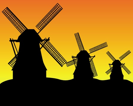 dike: black silhouettes of three wind turbines on an orange background Illustration