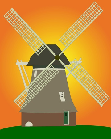 an old Dutch windmill on an orange background on an orange background Stock Vector - 11787973