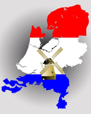 Map of Holland in the colors of the flag with a windmill on a gray background Иллюстрация