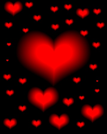 friendship day: red hearts on a black background Illustration